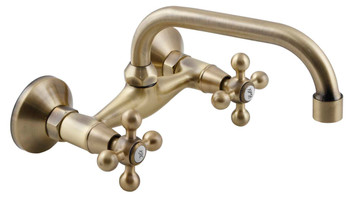 Elegant 'C' Type Antique Brass Bathroom Tap Kitchen Faucet Ancient Retro Heads from Kitchen taps