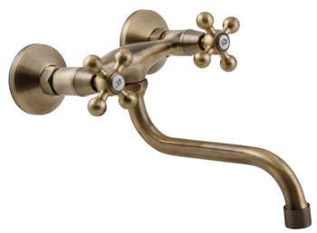 Elegant 'S' Type Antique Brass Bathroom Tap Kitchen Faucet Ancient Retro Heads from Kitchen taps