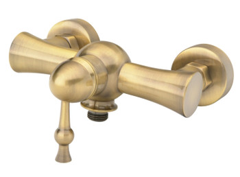 Antique Brass Bathroom Shower Tap with Single Lever + Shower Hose Input from Shower mixers