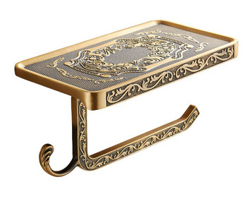 Antique Brass Toilet Roll Holder with Phone Shelf Wall Mounted High Quality from Toilet roll holders