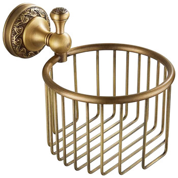 Antique Brass Toilet WC Roll or Shampoo Basket Holder Wall Mounted High Quality from Toilet roll holders