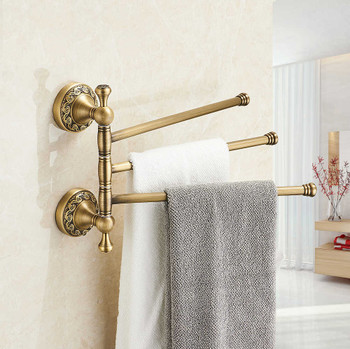 Antique Brass Bathroom Rotatable Towel Holder Triple Bar Rail 3-Tier Hanger from Towel rails and hangers