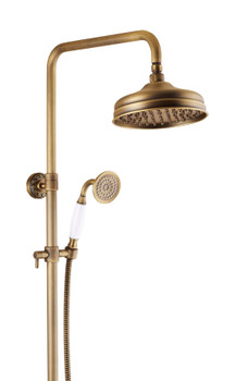 Antique Brass Retro Brushed Bath Shower Mixer Tap Panel Wall Mounted Rainfall from Shower sets