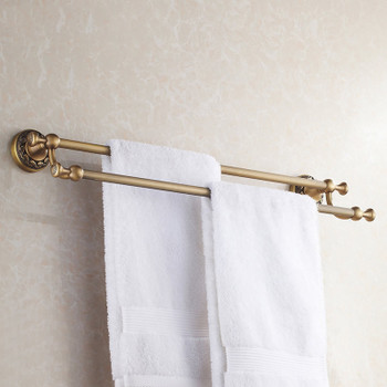 Antique Brass Bathroom Dual Towel Bars 60cm Double Rails Hanger Wall Mounted from Towel rails and hangers