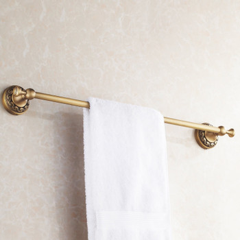 Antique Brass Bathroom Single Towel Bar 60cm Rail Hanger Wall Mounted Rack from Towel rails and hangers