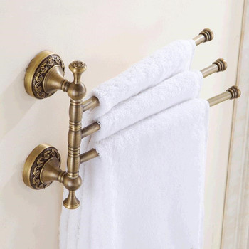 Antique brass bathroom rotatable towel bar triple straight rail 3-tier hanger from Towel rails and hangers