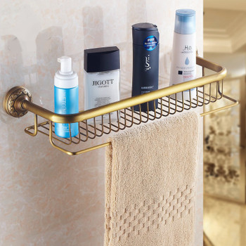 Antique Brass Bathroom Single-Tier Shower Shelf Storage Rack Wall Mounted from Bathroom shelves