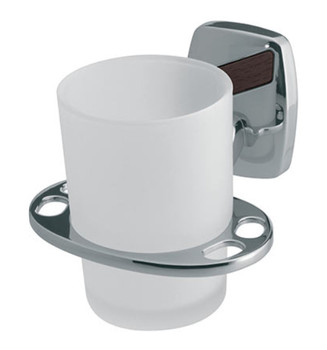 Single Tempered Glass Cup + Toothbrush Holes Grip Modern Bathroom Chromed Zamak from Toothbrush holders