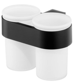 Double Tempered Glass Toothmug Toothbrush Cup Bathroom Black Powder Coated Zamak from Toothbrush holders