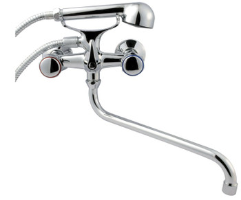 Chrome Round Tap Head Bath Filler Shower Mixer Wall Mounted 'S' Type 30cm Spout from Bath taps