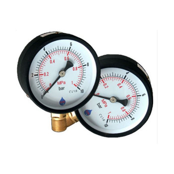 Water Pressure Gauge Manometer 1/4 Inch Side/Bottom Entry 63mm Dial