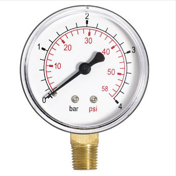 Pressure Gauge Water 1/4 Inch Side/Bottom Entry Manometer 60mm Dial