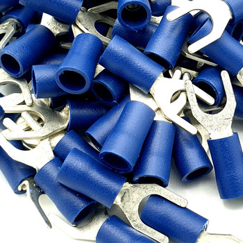 100 x Blue Cable Crimp Fork Spade Terminals Connectors