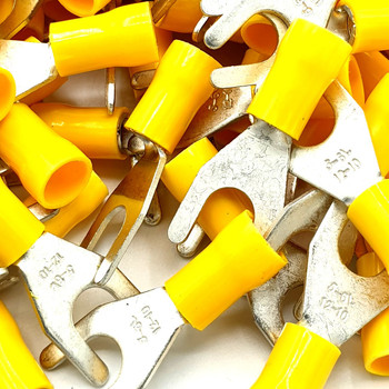 100 x Yellow Cable Crimp Fork Spade Terminals Connectors