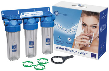 Triple 10 Inch Filter Housing Three Stage Water Filtration 1/2 3/4 Inch Fittings