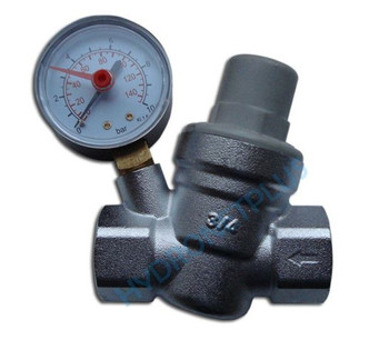 Water Pressure Reducing Valve with Gauge PRV 1/2 3/4