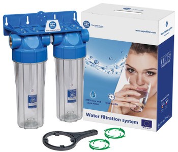 """Double 10"""" Filter Housing Set Two Stage Water Filtration System 1/2 3/4"""