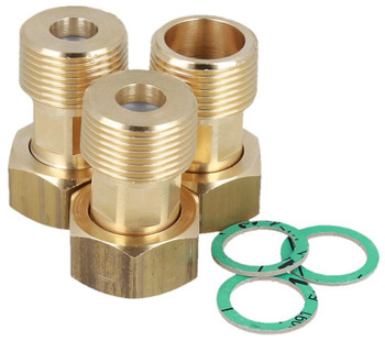 3x Union Fittings Set For 3-way Water Mixing Valves Connection Mixed Liquid