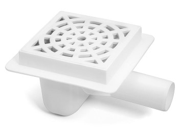 White 150x150mm Floor Ground Garage Waste Drain Gully Trap 50mm Outlet Pipe