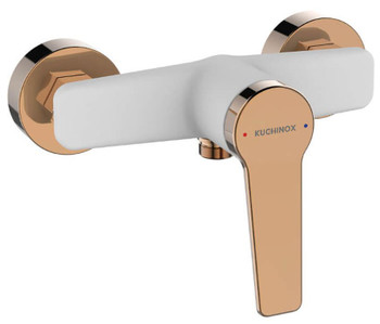 White/Rose Gold Finishing Shower Tap Wall Mounted Mixer Single Lever