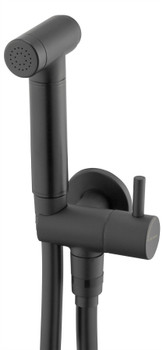 Black Finished Brass Bidet Tap Expendable Handle 1.5m Hose Angled Connection