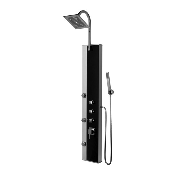 High Quality Corner Wallmounted Shower Hydromassage Panel Kerra Black Pearl from Shower tower panels
