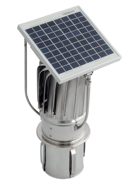 Stainless Steel Hybrid Chimney Exhaust Assisting Cowl with Solar Panel 150mm Tulipan Version from Hybrid chimney cowls