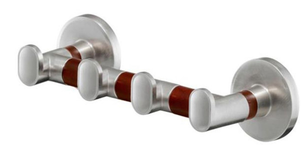 Solid Wood and Zamak Wall Mounted Dressing-Gown Towel 4-Hook Strip Hanger from Towel rails and hangers