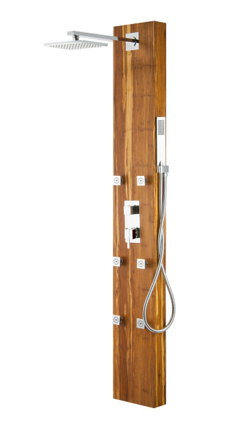 Varnished Teak Wood Shower Panel Rain Shower Hydromassage Water Stream Nozzles from Shower tower panels