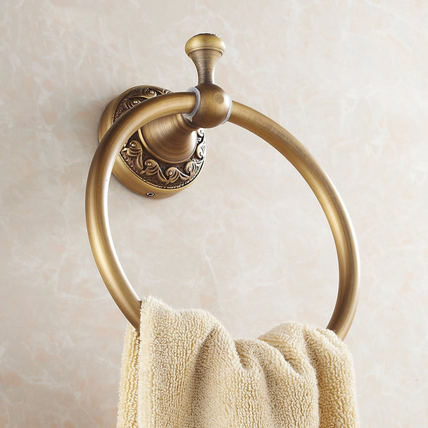 Bathroom Toilet Round Towel Ring Dressing-Gown Wall Mounted Hanger Antique Brass