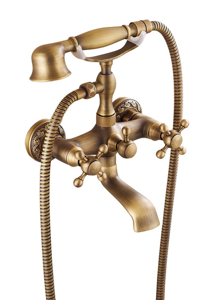 Antique Brass Retro Brushed Bathroom Bath Filler Mixer Tap Wall Mounted from Bath taps