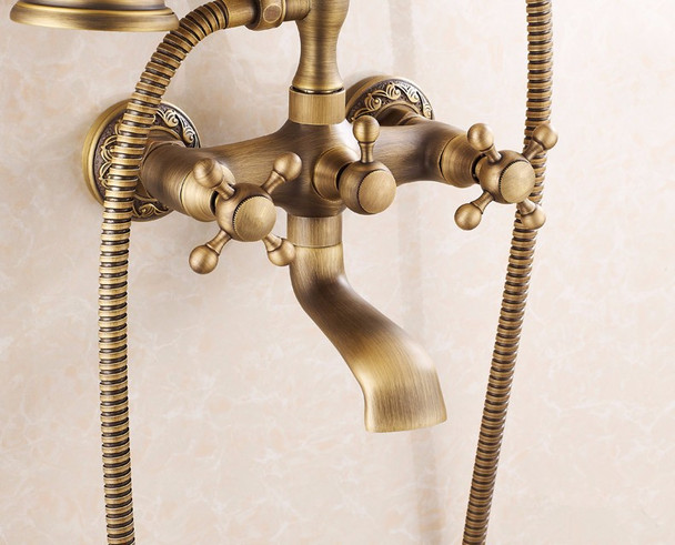 Retro Brushed Bathroom Bath Filler Mixer Tap Wall Mounted Antique Brass