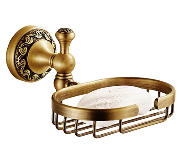 Antique Brass Bathroom Soap Basket Dish Shower Shampoo Tray Wall Mounted from Soap dishes
