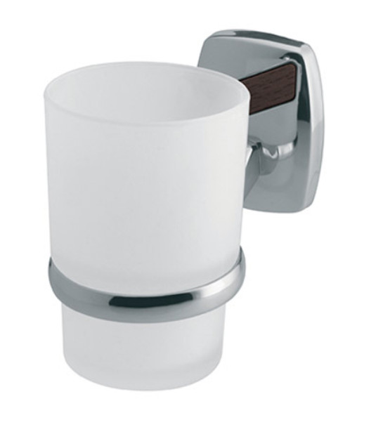 Single Tempered Glass Toothmug Toothbrush Cup Grip Modern Bathroom Chromed Zamak from Toothbrush holders