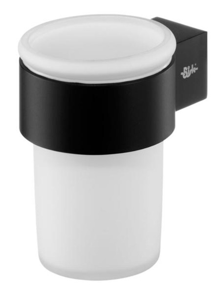 Single Tempered Glass Toothmug Toothbrush Cup Bathroom Black Powder Coated Zamak from Toothbrush holders
