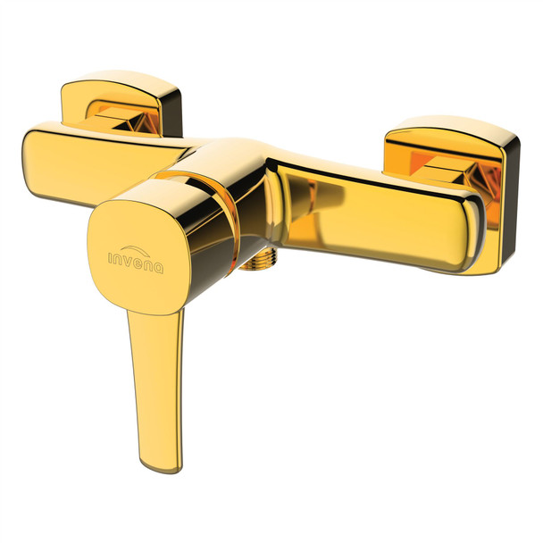 Gold Brass Bathroom Shower Faucet Single Lever Wall Mounted Mixer Tap