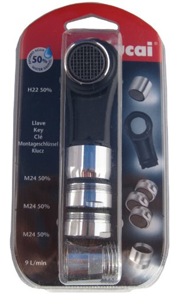Home Water Saving Kit - Tap Aerators 3x 24mm 1x 22mm, Shower Flow Reducer, Tool