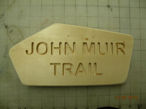 John Muir Trail wood carved sign