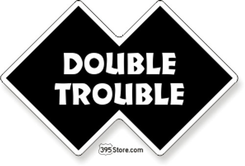 Double Trouble Snow Ski Sticker