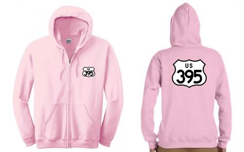 395 Women's Pink Hoodie Full Zip