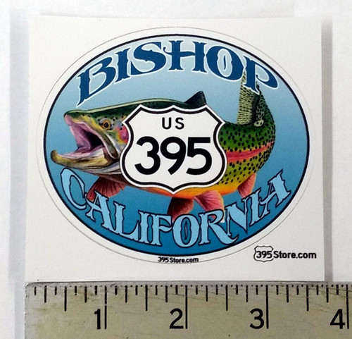 395 Trout Fishing blue oval Sticker