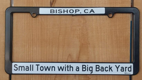 Black plastic license plate frame.