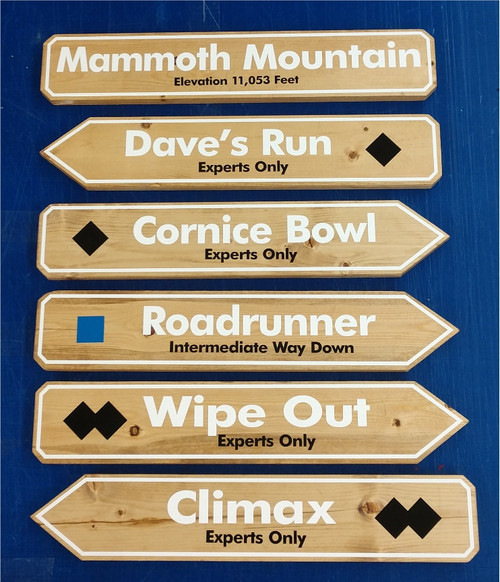 Mammoth Wood Ski Signs - Pick One