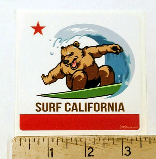 California Flag Bear Surfing Sticker