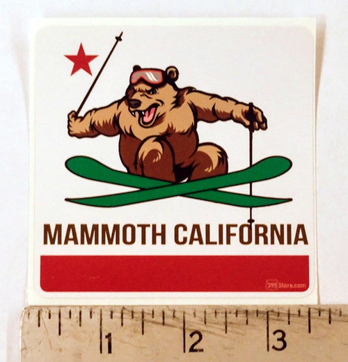 California Flag Mammoth Bear Skiing Sticker