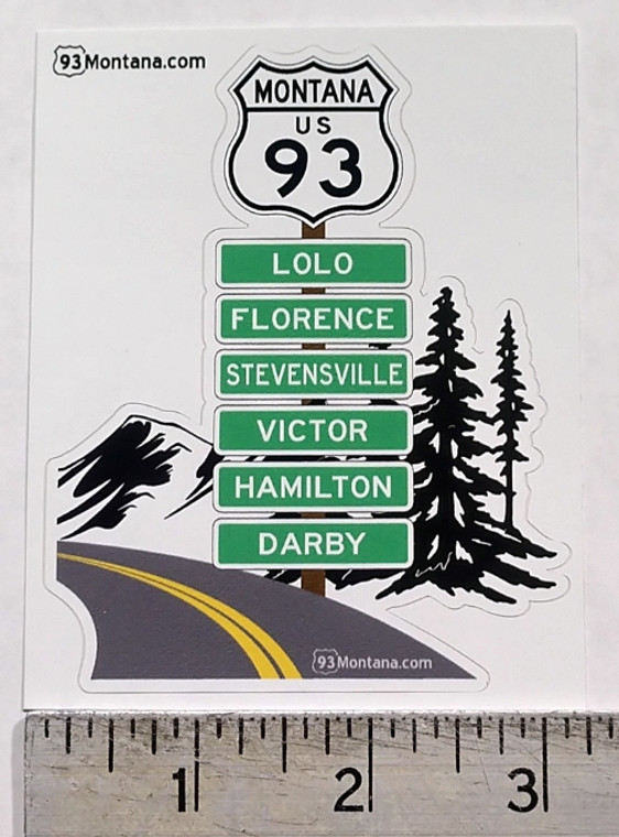93 Road Trip Bitterroot Montana Route Highway sticker