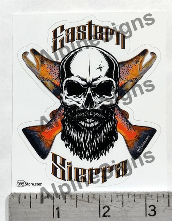 Eastern Sierra Fisherman Skull Trout Fishing Sticker