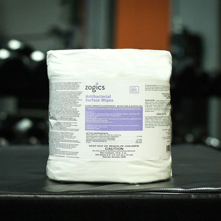 """Bulk Antibacterial Gym Wipes, Z800-4 (4 rolls/case) When nothing but the best will do, Zogics EPA Registered Antibacterial Gym Wipes won't disappoint. These antibacterial surface wipes are EPA registered to kill 99.9% of germs and bacteria in just 15 seconds, as well as MRSA, HIV-1, H1N1, E coli, and much more. These wipes are free of bleach, alcohol, and phenol. On top of that, our premium bulk antibacterial gym wipes are great for use in gyms and health clubs, hospitals, health care settings, nursing homes, veterinary clinics, schools, shopping centers, grocery stores... just about anywhere with hard surfaces!  Unbeatable Savings One bulk case of Antibacterial Gym Wipes includes four 800 count rolls of pre-saturated wipes. Individual wipes measure 8.5"""" high x 6"""" wide. The gym wipe rolls fit most dispensers, and as our wettest wipe, they must be dispensed from an upward pull wipe dispenser."""