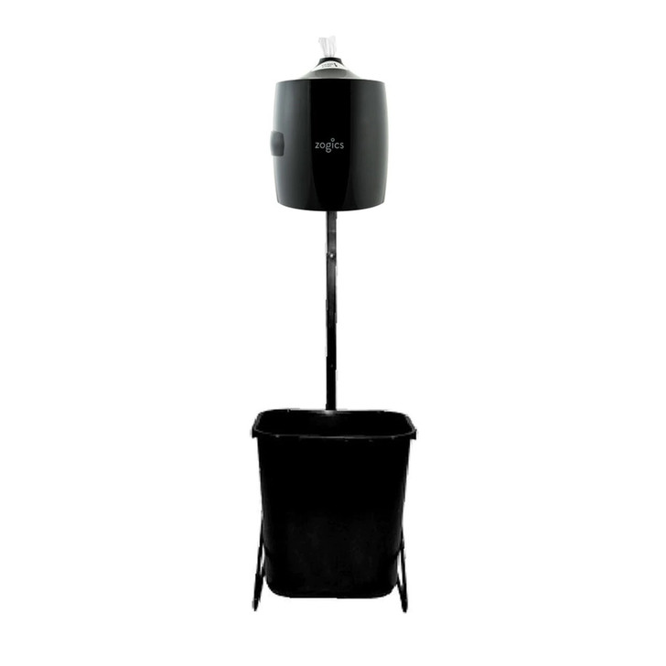 SPECIFICATIONS   Waste Basket Capacity	7 gallons Color	Black stand / Smoke lid Shipping	Stand, dispenser, and trash receptacle shipped together. Some minor assembly required NOTE: Fitness center wipes are NOT included with this dispenser.