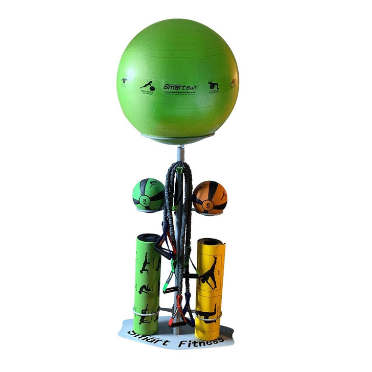 Prism Fitness Smart In Home Gym Package Includes: (1) Smart Medicine Ball, 6lb (Orange) (1) Smart Medicine Ball, 8lb (Green) (1) Smart Stability Ball, 65cm (Green) (1) Smart Recovery Foam Roller (Green) (1) Smart Mat, 6mm (Black & Yellow) (1) Smart Door Anchor (1) Smart Sleeved Tubing, Light Resistance (Green) (1) Smart Sleeved Tubing, Medium Resistance (Red) (1) Smart Sleeved Tubing, Heavy Resistance (Blue) (1) Smart In Home Gym Storage Rack Go ahead, your workout options are endless!